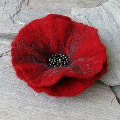 Poppy Felted Flower - Hand Felted Brooch