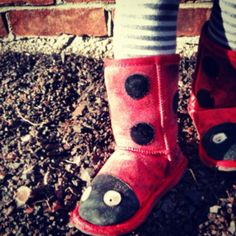 On the playground   #red #shoes #kids #cute #ladybug custom shoe, playground red, red shoes, shoe kid
