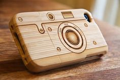 Wooden camera iPhone case.