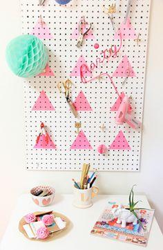 DIY Geometric Ombre Peg Board Organization