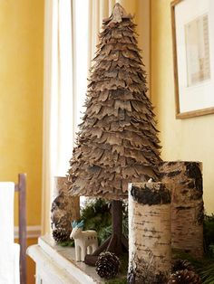 birch, design homes, candle holders, christma tree, rustic decor, christma decor, rustic christmas, christmas trees, diy christmas decorations