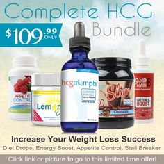 The HCG complete bundle comes with everything you need to start your weight loss journey. Real HCG Drops, hcg approved appetite suppressants, plateau breakers, and protein. All for one low price.
