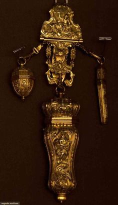 GOLD SEWING CHATELAINE - EUROPE,  c. LATE 19TH CENTURY