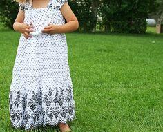 women's skirt made into girls dress diy