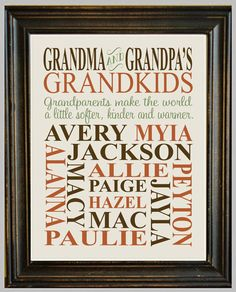 Personalized GRANDPARENT PRINT - with Grandchildren's Names and Birthdates - Completely Customizable - Christmas Gift - Anniversary Gift