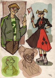 Rockability Riddler and Harley Quinn by Denis Medri Gives.