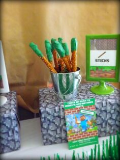 Minecraft themed birthday party with Lots of Really Fun Ideas via Kara's Party Ideas: Party food- Sticks