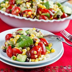 A delicious Avocado Corn & Tomato Salad with a Cilantro-Lime Dressing. So delicious!