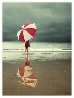 beach photos, atthebeach, color, the ocean, at the beach, sea, red umbrella, storm, rain