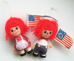 Vintage Flocked Raggedy Ann and Andy Christmas Ornaments