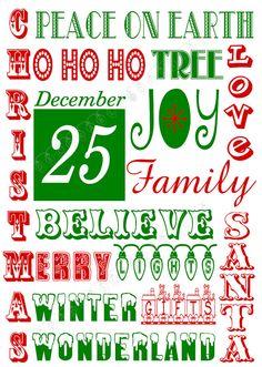 Christmas Subway Art Printable!
