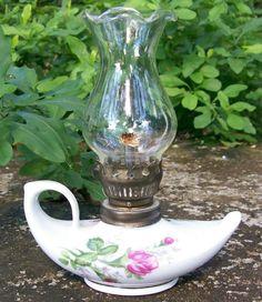 20.00 Miniature Oil Lamp: Heather/ Moss Rose: 1950's