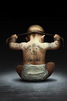watch tattoos, baby tattoos, funni, future babies, baby art, laugh tattoo, future kids, tattoo baby, little boys