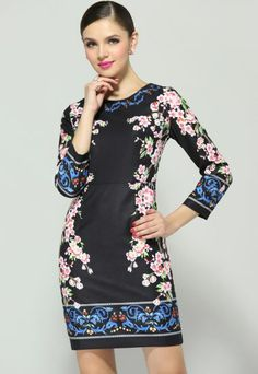 Black Long Sleeve Floral Bodycon Dress pictures