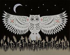 Hand cut paper owl