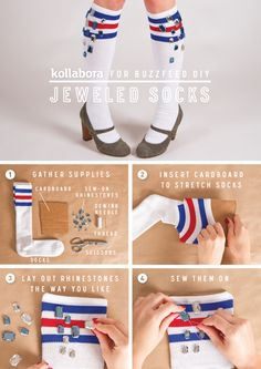 DIY Jeweled Athletic Socks using #AmericanApparel Stripe Knee-High Socks!