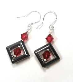Ruby Crystal and Hematite Birthstone Earrings