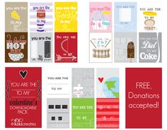 free printable valentines..lots of uses!