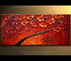 ORIGINAL Tree Painting 48 x 24  Abstract  Red Blooming by Artcoast, $380.00