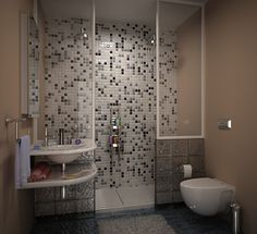 Bathroom in grey tile.