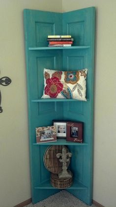 Corner door shelf I painted and decorated for family room!