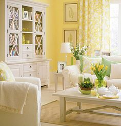 don't love yellow, but love this- perhaps it's the bookshelf doing it for me