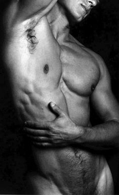 black and white male torso