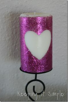 heart glitter candle  from keeping it simple