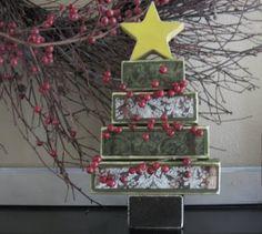 Christmas wood block tree