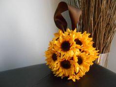 Sunflower Wedding Pomander Kissing Ball Reception Decor, Flower Girl Pomander or Bridesmaid Pomander on Etsy, $26.50