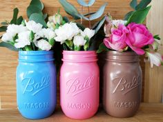 Blue, Pink & Mocha Painted Mason Jar Vases. The Perfect Addition To Any Home.