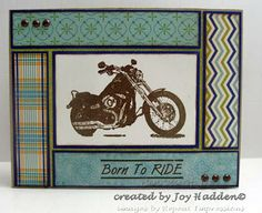 Fabulous motorcycle card created by Joy Hadden.  What man wouldn't love to receive a card like this?! Rubber stamp by Repeat Impressions. - http://www.repeatimpressions.com - #repeatimpressions #rubberstamps #cardmaking