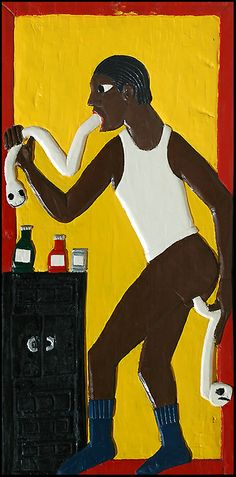 By Herbert Singleton, 1980s, Getting Rid of Dog Worms, Paint on carved wood. Collection of Gordon W. Bailey