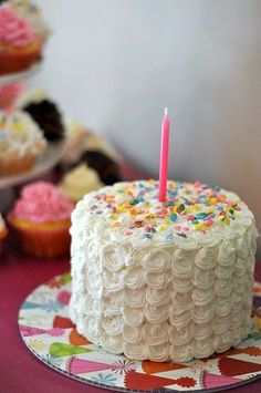 Cute and simple first birthday cake (or any age if you bake a larger cake).  (Also could do diff colored swirls)