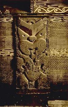 Maori carving, Tawakeheimoa, and tukutuku panels, Rotorua. 19th century albumen photo by James Valentine held by Auckland Art Gallery