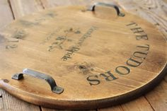 Handmade Wedding Gift Ideas: wine barrel inspired tray via lilblueboo.com