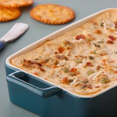 Warm Vegetable & Crab Dip: Makes the crowd go wild every time! #crabdip #recipe