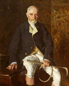 Portrait of Robert Wynter Blathwayt (1850–1936), 1911 by Francis Edward Crisp (british 1880-1915).....Blathwayt was master of Dyrham Park near Bath, England, and here is wearing the uniform of the Beaufort Hunt.....interesting that the buttons on the legs of his breeches are at the front rather than, at the side, which would be more usual...perhaps something to do with being on a horse?