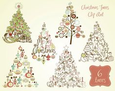 vintage christmas tree clipart