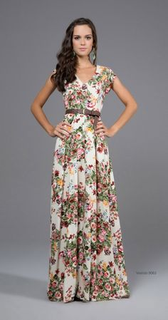 Floral. Colors. V neck. Modest dress