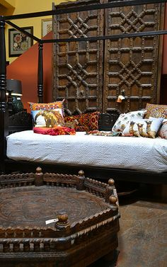 Old doors, daybed and carved table from India Tierra Del Lagarto