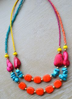 Boho Statement Double Strand Colorful by uniquebeadingbyme on Etsy, $42.00