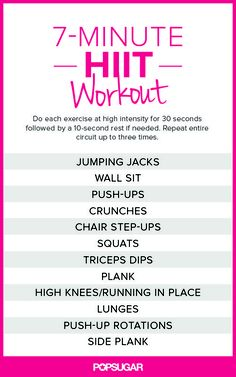 The Scientific 7-Minute Workout | Health & Fitness | Learnist -   I LOVE HIIT Workouts! Always feel amazing afterwards (and during-  like a great 'high').....good list..