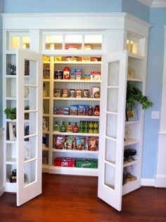 add a pantry to a corner by building the wall out - How cute is this!