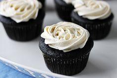 Chocolate Ganache Cupcakes with Vanilla Bean Buttercream Frosting