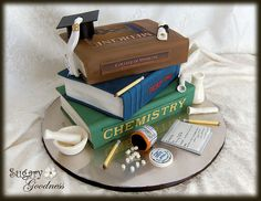 cake idea, blue, ideas graduation cake, graduat cake, graduationprepharmaci photo, chemist graduationprepharmaci, book cakes, parti idea, graduat parti