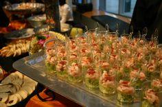 Individual shrimp cocktails.