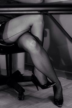 Legs and Seams. Pantyhose and Heels