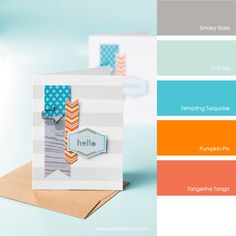 Smoky Slate, Soft Sky, Tempting Turquoise, Pumpkin Pie, Tangerine Tango #stampinupcolorcombos