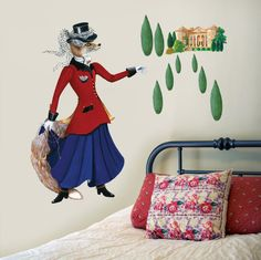 Lady Fox Wall Decal, Fabric Wall Sticker ( Not Vinyl, PVC free )